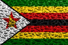National flag of Zimbabwe made of water drops. Background forecast concept stock images