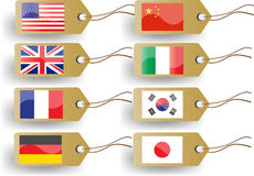National flags. Vector  tags with national flags Stock Photo