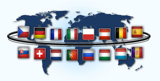 National flags. Map of world with national flags Royalty Free Stock Image