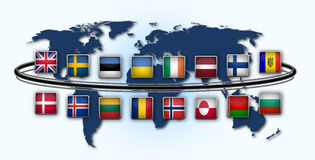 National flags. Map of world with 16 national flags Stock Photo