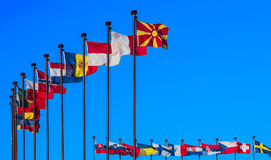 National flags. Of European countries. Business integration of the world community in the global economic processes in the interests of peace and cooperation Royalty Free Stock Photos