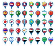 National flags of Asia. Set of national flags of Asia in sign shape design Stock Image
