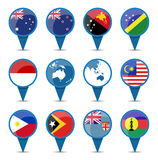 National flags of australia oceania. In sign shape design Stock Image