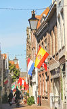 National flags on celebratory street  in Dordrecht, Netherlands Royalty Free Stock Photo