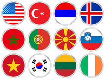 National flags circle icon set Stock Photography