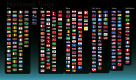 National flags collection. Almost all national flags collection in  format, with legend and divided by continent Stock Photos