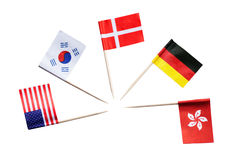 National flags of different countries against white background Royalty Free Stock Photo