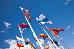 National flags of different country. Flags of the world happily blowing in the wind Royalty Free Stock Photos
