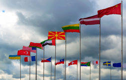 National flags of different country Royalty Free Stock Photos