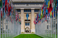 National flags at the entrance in UN office at Geneva, Switzerla Royalty Free Stock Image
