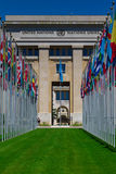 National flags at the entrance in UN office at Geneva, Switzerla Stock Image