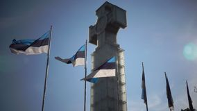 National flags of Estonia against the background of «Freedom monument» on Freedom Square, is devoted to Emancipating. National flags of Estonia against the stock video footage