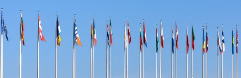 National flags of the European countries. On the blue sky background royalty free stock photos