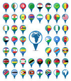 National flags flags of Africa. Set of national flags of Africa in sign shape design Stock Photography