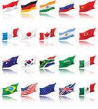 National Flags of G20 with shadow Royalty Free Stock Image