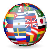 National flags globe Royalty Free Stock Images