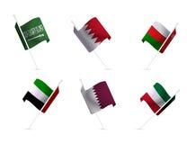 National flags of the Gulf States. Saudi Arabia, Qatar, Oman, Kuwait, UAE,Bahrain Royalty Free Stock Photography