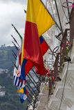 National flags in the Historic center of Quito. Royalty Free Stock Photos