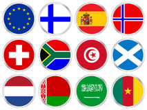National flags icon set 3. National flags circle icon set. Vector illustration Stock Photos