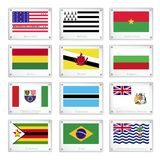 The National Flags on Metal Texture Plates Royalty Free Stock Image