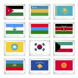 National Flags on Metal Texture Plates Royalty Free Stock Photos