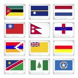 National Flags on Metal Texture Plates Stock Photo
