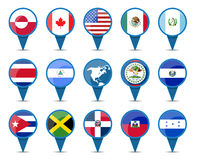 National flags of North America. National flags of north and central america states in sign shape design Royalty Free Stock Photography