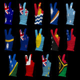 National flags of  Oceania ,victory sign Royalty Free Stock Photos