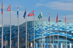 National flags in the Olympic Park in Sochi Stock Photo