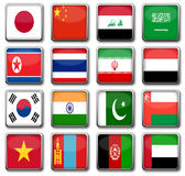 National flags. Set of 16 national flags in rectangle frame with reflection Stock Images