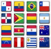 National flags. Set of 16 national flags in rectangle frame with reflection Royalty Free Stock Photos
