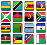 National flags. Set of 16 national flags in rectangle frame with reflection Royalty Free Stock Image