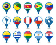 National flags of South America. States in sign shape design Royalty Free Stock Image