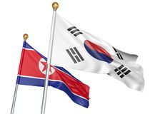 Isolated South Korea and North Korea flags flying together for diplomatic talks and trade relations, 3D rendering. National flags from South Korea and North Stock Image