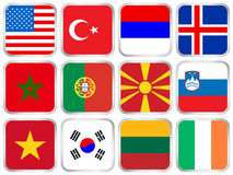 National flags square icon set Royalty Free Stock Photo