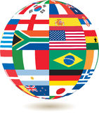 National flags in square shape on a globe Stock Photo