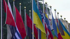 National flags of summit participants, strategic partners, diplomatic relations. Stock footage stock video
