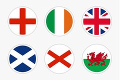 National Flags of United kingdom, vector Set on white background. Flag of England, Ireland, UK, Scotland, Northern Ireland and Wales for travel, holidays and royalty free illustration