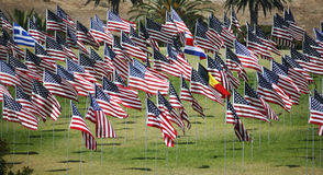 National Flags. Flags of a variety of nations on display at memorial for 9/11 victims Royalty Free Stock Images