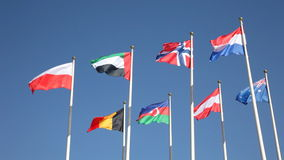 National flags of various countries. Fluttering in the wind against a blue sky stock footage