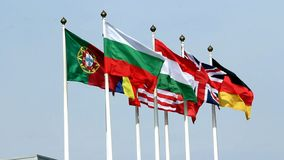 National flags of various European countries. With Bulgarian flag in the center stock video footage