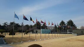 National flags waving in the air of UN cemetery in Busan, South Korea, Asia. When Feb-22-2018. The UN Memorial Cemetery in Korea honors UN soldiers from 16 stock video