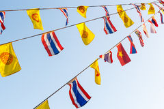 National flags and Wheel of Dhamma 's flags Royalty Free Stock Photography