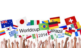 National Flags and Worldcup Brazil 2014 Stock Images