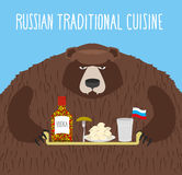 National Folk Food in Russia. Russian national cuisine.  Royalty Free Stock Images