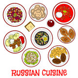 National food and drinks of russian cuisine sketch Stock Photo
