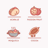 National food and fruit. vector illustration