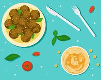 National food of Israel. Flat vector illustration. The view from the top. Falafel and Hummus royalty free illustration