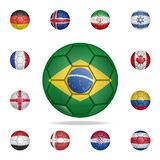 National football ball of Brazil. Detailed set of national soccer balls. Premium graphic design. One of the collection icons for. Websites, web design, mobile royalty free illustration