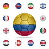 National football ball of Colombia. Detailed set of national soccer balls. Premium graphic design. One of the collection icons for. Websites, web design, mobile vector illustration
